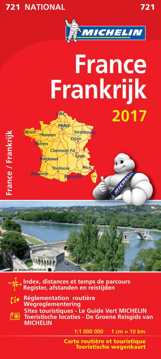 FRANCE FRANKRIJK 11721 CARTE 'NATIONAL' 2017 MICHELIN KAART