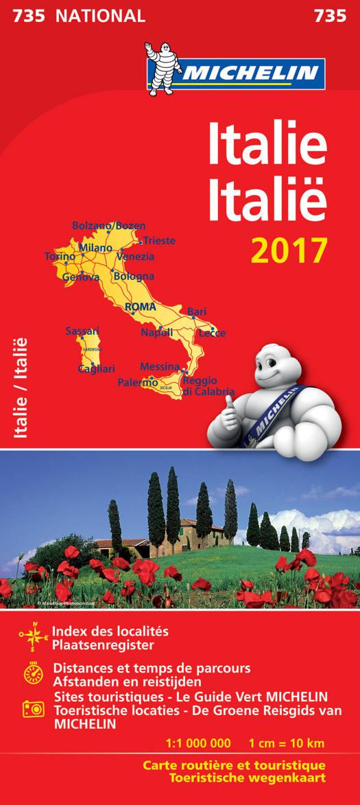 ITALIE 11735 CARTE 'NATIONAL' 2017 MICHELIN KAART