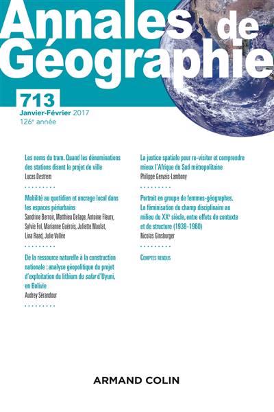 Revue Annales De Geographie N.713 ; 1/2017