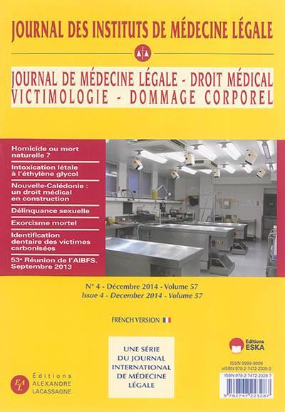 Journal Des Instituts De Médecine Légale N 3-4 Vol 57 Oct 2014