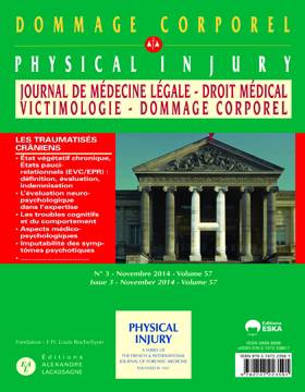 Dommage Corporel Physical Injury N 3 Vol 57 Novembre 2014
