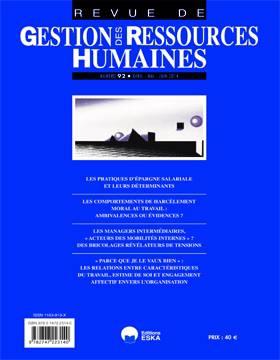 Revue Gestion Des Ressources Humaines N.92 ; Les Pratiques D'épargnes Salariales Et Leurs Déterminants