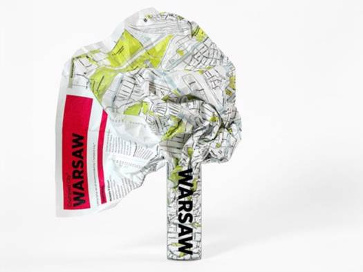 Warsaw Crumpled City Map