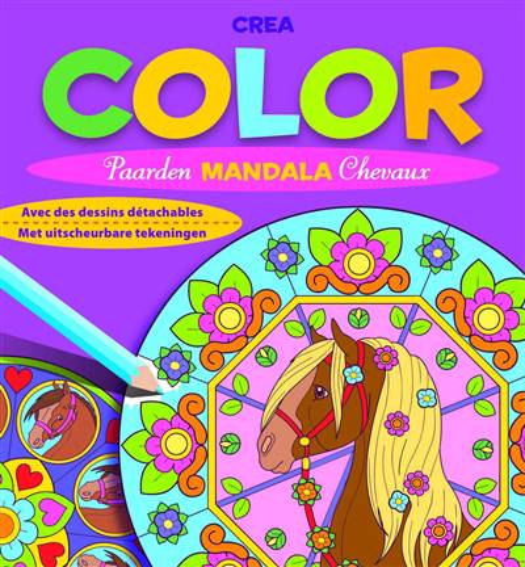 Crea color paarden mandala met uitscheurbare tekeningen crea color mandala chevaux avec des - Mandala de chevaux ...